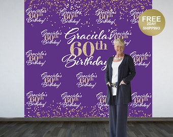 60th Birthday Personalized Photo Backdrop | Purple and Gold Sparkle Photo Booth Backdrop | Birthday Backdrop | Printed Backdrop