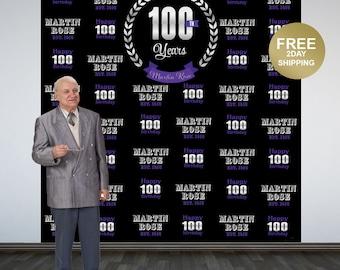 100 Celebration Personalize Photo Backdrop   Birthday Milestone Photo Backdrop   Anniversary Large Photo Backdrop   Business Celebration