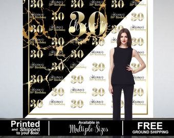 Marble Elegance Personalized Photo Backdrop, Gold Photo Backdrop- 30th Birthday Photo Backdrop, 16th Birthday Printed Photo Booth Backdrop