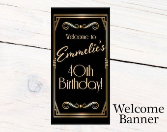 Great Gatsby Birthday Door Banner, Personalize Retro Birthday Banner Party Banner, Welcome to the Party Banner, Printed Vinyl Banner,