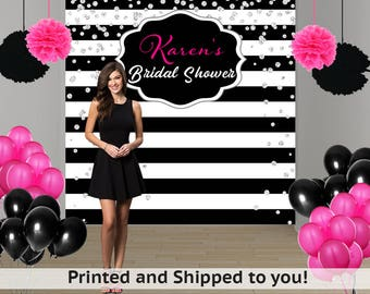 Bridal Shower Personalized Photo Backdrop - Black and White Stripes Photo Backdrop - Birthday Backdrop - Photo Backdrop -  Printed Backdrop