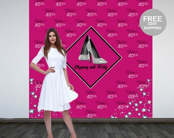 Stepping into 40 Photo Backdrop | Step and Repeat Personalized Photo Backdrop | Photo Booth Backdrop | Silver Heels Party Backdrop | Printed