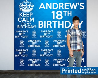 18th Birthday Personalized Photo Backdrop -Keep Calm Photo Backdrop- Birthday Photo Backdrop - Printed Custom Backdrop, Cake Table Backdrop
