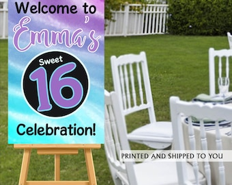 Sweet Sixteen Welcome Sign, Watercolor Sign, Sweet 16 Welcom Sign, Foam Board Welcome Sign, 16th Birthday Printed Welcome Sign