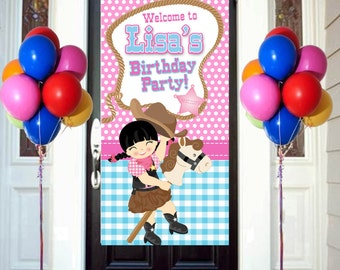 Sherrif Party Birthday Door Banner, Personalize Cowgirl Party Banner, Welcome to the Party Banner, Western Party Banner, Birthday Banner