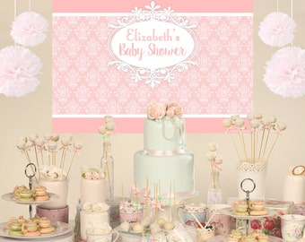 Vintage Personalized Party Backdrop - Birthday Cake Table Backdrop - Baby Shower Backdrop, Royal Backdrop, Birthday Backdrop, Photo Backdrop