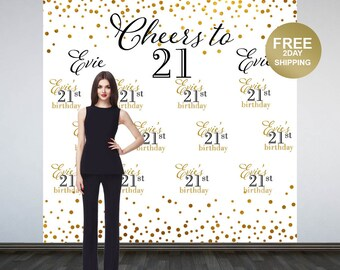 Cheers to 21 Party Personalized Photo Backdrop - Birthday Backdrop- Gold Sparkle Birthday Party Backdrop - Step and Repeat Backdrop - Banner