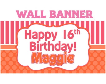 Colorful Birthday Party Banner ~ Personalized Party Banners, 16th Birthday, Sweet 16th Birthday Banner, 13th Birthday Banner, Printed Banner