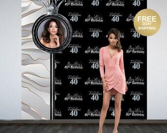 Fabulous 40 Personalized Photo Backdrop | Photo Backdrop | 40th Birthday Photo Backdrop | Printed Photo Booth Backdrop | Birthday Backdrop