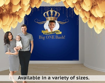 Royal Prince Photo Personalized Backdrop - Birthday Photo Backdrop- 1st Birthday Photo Backdrop - Little Prince Backdrop - Printed Backdrop