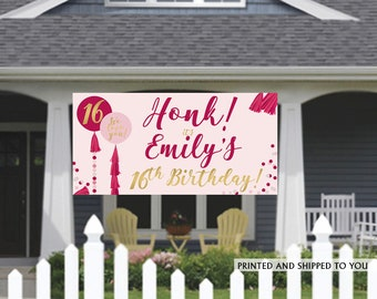 Birthday Banner | Personalized Birthday Banner | 13th Birthday Vinyl Banner | HONK Birthday Banner | Quarantine Birthday Banner, Lawn Banner