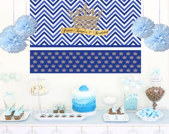Litte Prince Personalized Backdrop, Birthday Cake Table Backdrop- Welcome Prince, Gold Crown Backdrop, Royal Blue Prince, Prince Backdrop