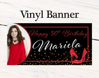 High Heels Glam Birthday Banner  ~ Black & Red Birthday Personalized Party Banners - Photo Banner, Printed Birthday Banner - 30th Birthday