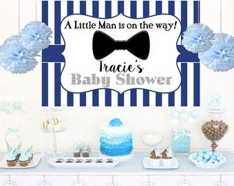 Little Man Personalized Backdrop, Baby Shower Backdrop, Bow Tie Photo Backdrop, Printed Vinyl Backdrop, Birthday Backdrop, Gentleman