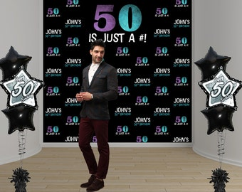 50th Birthday Party Personalized Photo Backdrop, 40th Birthday Photo Backdrop - Photo Booth Backdrop - Step and Repeat Backdrop - Printed