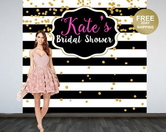Bridal Shower Personalized Photo Backdrop | Black and White Stripes Photo Backdrop | 30th Birthday Backdrop | Photo Booth Backdrop