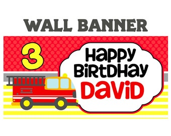 Fire Truck Happy Birthday Banner  ~ Personalized Firefighter Party Banners, Custom Banner, Happy Birthday Personalized Banner, Custom Banner