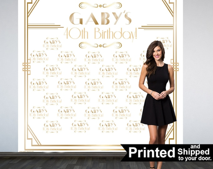 Featured listing image: Great Gatsby Party Personalized Photo Backdrop -Roaring 20's Step and Repeat Photo Backdrop- Birthday Photo Booth Backdrop, White & Gold