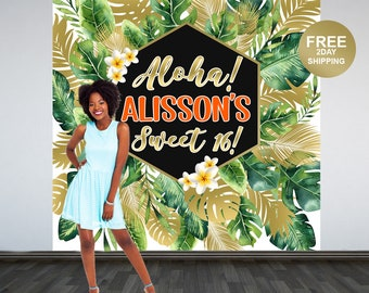 Aloha Party Personalized Photo Backdrop | Summer Photo Backdrop | Tropical Birthday Backdrop | Green Floral Backdrop | Printed Backdrop