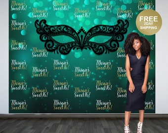 Sweet 16 Personalized Photo Backdrop | Masquerade Green Birthday Photo Backdrop | Step and Repeat Photo Backdrop | Masquerade Ball Backdrop