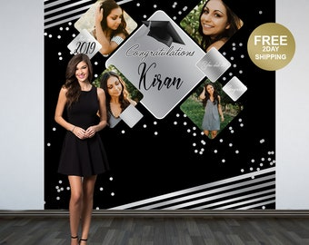 Graduation Photo Backdrop | Personalized Photo Backdrop | Class of 2019 Photo Backdrop | Congrats Grad Photo Backdrop | Silver and Black
