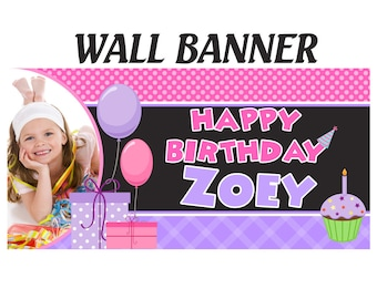 Happy Birthday Banner  ~ Photo Birthday Personalized Party Banners - Large Party Banner, Printed Birthday Banner, Purple and Pink Banner