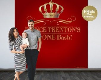 Royal Prince Birthday Personalized Photo Backdrop | First Birthday Photo Backdrop | Photo Booth Backdrop | Red Royal Baby Shower Backdrop