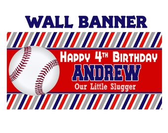 Baseball Party Banner, Personalized Party Banner, Sports Banner, Little Slugger Banner, Big Hitter Banner, Printed Vinyl Banner, Team Banner