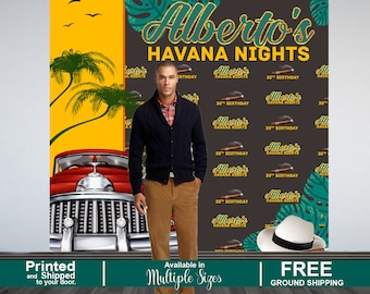 30th Birthday Party Personalized Photo Backdrop, Havana Nights Photo Backdrop, Cuban Birthday Photo Booth Backdrop- Step and Repeat Backdrop