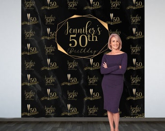 50th Birthday Personalized Photo Backdrop - Gold Party Backdrop- Black Marble Photo Backdrop - Printed Photo Booth Backdrop, Vinyl Backdrop