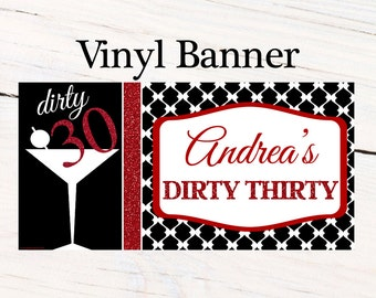 Dirty Thirty 30th Birthday Banner, Happy 30th Birthday Personalized Party Banner, Red & Black Banner, 21st Birthday Banner, 40th Birthday
