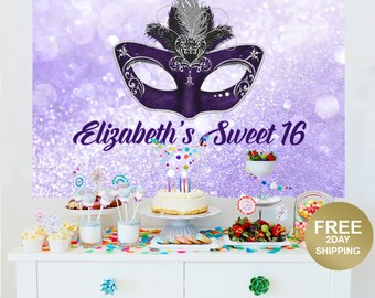 Masquerade Mask Personalized Party Backdrop | Birthday Cake Table Backdrop | Sweet 16 Backdrop | Printed Vinyl Backdrop | Birthday Backdrop
