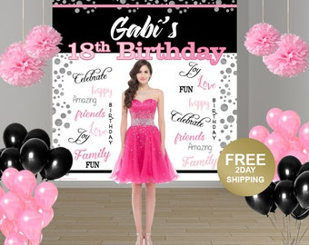 18th Birthday Personalized Photo Backdrop | Happy Birthday Photo Backdrop | 21st Birthday Party Photo Backdrop | 15th Birthday Backdrop