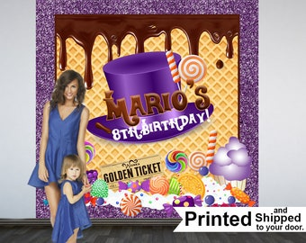 Chocolate Factory Personalized Photo Backdrop, Candyland Photo Backdrop- Sweet Birthday Photo Backdrop - Custom Backdrop, Printed Backdrop