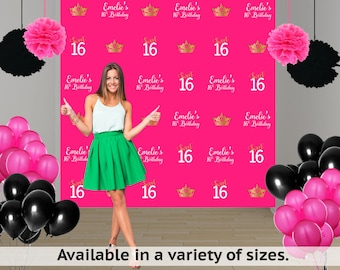 Sweet 16 Personalized Photo Backdrop, Step & Repeat Photo Backdrop- Princess Photo Backdrop, Royal Birthday Photo Backrop, Printed Backdrop