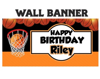 Basketball Party Banner ~ Personalize Party Banners - Sports Banner - Birthday Banner - Vinyl Banners - Printed Banners