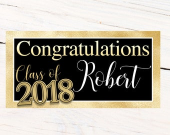 Gold Graduation Photo Banner ~ Congrats Grad Personalized Party Banners -School Colors Graduation Banner, Class of 2018 Banner