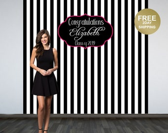 Black and White Stripes Graduation Backdrop | Class of 2019 Photo Backdrop | Grad Photo Booth Backdrop | Graduation Photo Backdrop