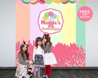 Sweet Shoppe Personalized Photo Backdrop | Candy Sprinkles Party Photo Backdrop | Printed Photo Backdrop, Birthday Backdrop, Cookie Backdrop