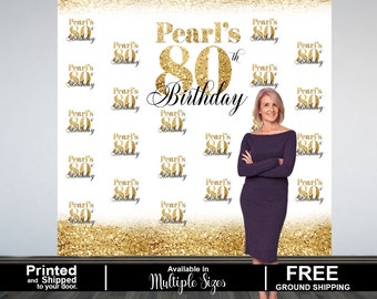 80th Birthday Personalized Photo Backdrop -Gold Photo Backdrop- 70th Birthday Photo Backdrop - Printed Photo Booth Backdrop, Vinyl Backdrop