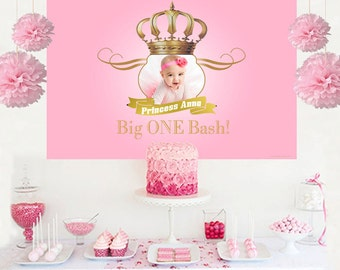 Royal Princess Photo Personalized Backdrop, Birthday Cake Table Backdrop, 1st Birthday Princess, Royal Baby Shower, Princess Backdrop