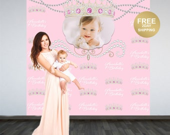 1st Birthday Personalized Photo Backdrop | Birthday Princess Photo Backdrop | Birthday Backdrop | Princess Backdrop | Printed Backdrop