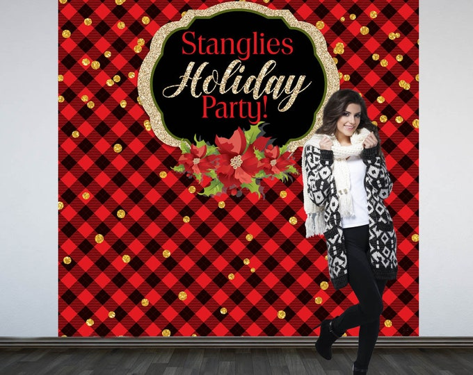 Featured listing image: Holiday Party Personalized Photo Backdrop - Christmas Photo Backdrop- Flannel Party Photo Backdrop, Ugly Sweater Holiday Party Backdrop