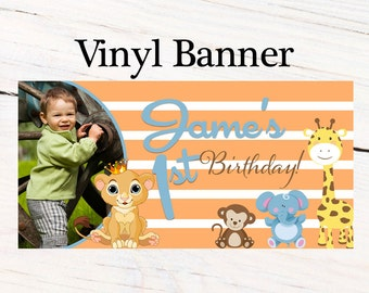 Jungle Friends Birthday Banner ~ Personalized First Birthday Boy Banners -Baby Shower Banner - Custom Banners, Printed Banners, Animals