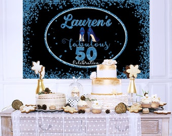 50th Birthday Personalized Party Backdrop - Birthday Photo Backdrop - Fabulous 50 Backdrop, Printed Backdrop, Birthday Backdrop - High Heels