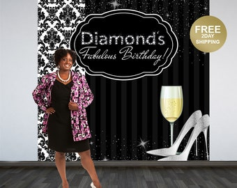 Damask Photo Backdrop | Sparkle and Champagne Photo Backdrop | Birthday Photo Booth Backdrop | 50th Birthday Backdrop | Printed Backdrop