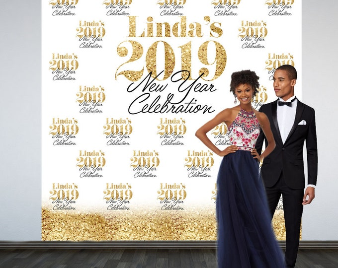 Featured listing image: Golden New Year Photo Backdrop, 2019 Celebration Photo Backdrop- Party Photo Backdrop, Happy New Year Party Backdrop, Printed Backdrop