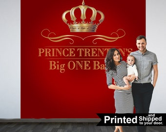 Royal Prince Birthday Personalized Photo Backdrop, First Birthday Photo Backdrop, Photo Booth Backdrop, Red Royal Baby Shower Backdrop