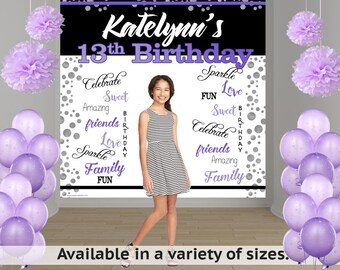 Radiant Birthday Party Personalized Photo Backdrop - Birthday Photo Backdrop- 13th Birthday Photo Backdrop- Printed Vinyl Backdrop