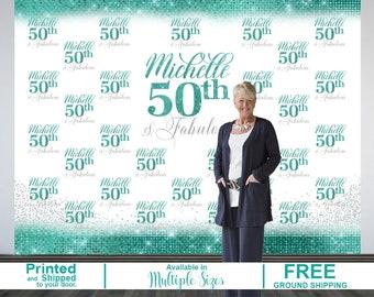 50th Birthday Personalized Photo Backdrop | Aqua 50th Birthday Photo Backdrop | Step & Repeat Photo Backdrop, 50 and Fabulous Photo Backdrop